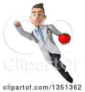 Clipart Of A 3d Young Brunette White Male Nutritionist Doctor Holding A Tomato And Flying Royalty Free Illustration