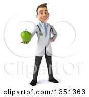 Clipart Of A 3d Young Brunette White Male Nutritionist Doctor Holding A Green Bell Pepper Royalty Free Illustration