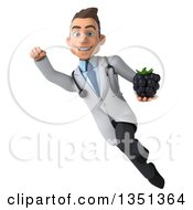 Clipart Of A 3d Young Brunette White Male Nutritionist Doctor Holding A Blackberry And Flying Royalty Free Illustration