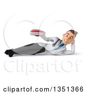 Clipart Of A 3d Young Brunette White Male Nutritionist Doctor Holding A Beef Steak And Resting On His Side Royalty Free Illustration