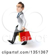 Clipart Of A 3d Young Brunette White Male Doctor Carrying Shopping Bags And Walking To The Left Royalty Free Illustration