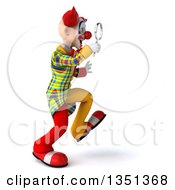 Clipart Of A 3d Funky Clown Walking To The Right And Searching With A Magnifying Glass Royalty Free Illustration