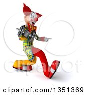 Clipart Of A 3d Funky Clown Speed Walking And Pointing To The Right With A Dumbbell Royalty Free Illustration