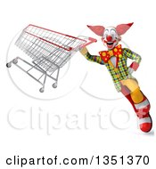 Clipart Of A 3d Funky Clown Flying With A Shopping Cart Royalty Free Illustration