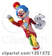 Clipart Of A 3d Colorful Clown Holding A Dollar Currency Symbol And Flying Royalty Free Illustration by Julos