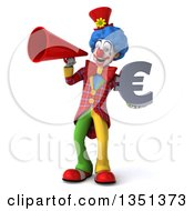 Clipart Of A 3d Colorful Clown Holding A Euro Currency Symbol And Using A Megaphone Royalty Free Illustration