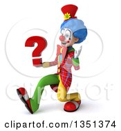 Clipart Of A 3d Colorful Clown Holding A Question Mark Speed Walking And Waving To The Left Royalty Free Illustration