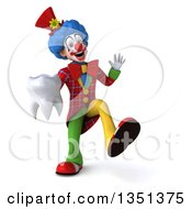 Clipart Of A 3d Colorful Clown Dancing And Holding A Tooth Royalty Free Illustration