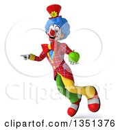 Clipart Of A 3d Colorful Clown Holding A Green Apple Flying And Pointing Royalty Free Illustration