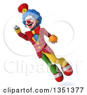 Clipart Of A 3d Colorful Clown Holding A Navel Orange And Flying Royalty Free Illustration