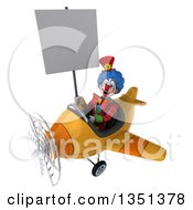Clipart Of A 3d Colorful Clown Aviator Pilot Holding A Blank Sign And Flying A Yellow Airplane To The Left Royalty Free Illustration by Julos