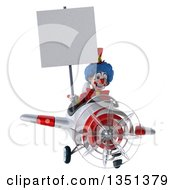 Clipart Of A 3d Colorful Clown Aviator Pilot Holding A Blank Sign And Flying A White And Red Airplane Royalty Free Illustration