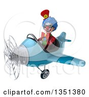 Clipart Of A 3d Colorful Clown Aviator Pilot Wearing Sunglasses And Flying A Blue Airplane To The Left Royalty Free Illustration by Julos