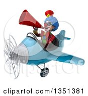 Clipart Of A 3d Colorful Clown Aviator Pilot Wearing Sunglasses Using A Megaphone And Flying A Blue Airplane To The Left Royalty Free Illustration