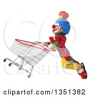Clipart Of A 3d Colorful Clown Flying With A Shopping Cart Royalty Free Illustration by Julos