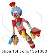Clipart Of A 3d Colorful Clown Carrying Shopping Bags And Flying Royalty Free Illustration