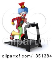 Clipart Of A 3d Colorful Clown Sprinting On A Treadmill Royalty Free Illustration
