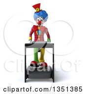 Clipart Of A 3d Colorful Clown Walking On A Treadmill Royalty Free Illustration