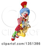 Clipart Of A 3d Colorful Clown Flying And Playing A Saxophone Royalty Free Illustration