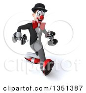 Clipart Of A 3d White And Black Clown Speed Walking To The Right With Dumbbells Royalty Free Illustration by Julos