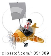 Clipart Of A 3d White And Black Clown Aviator Pilot Holding A Blank Sign And Flying A Yellow Airplane To The Left Royalty Free Illustration
