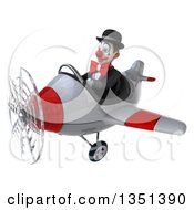 Clipart Of A 3d White And Black Clown Aviator Pilot Flying A White And Red Airplane To The Left Royalty Free Illustration