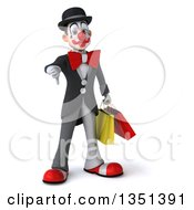 Clipart Of A 3d White And Black Clown Carrying Shopping Bags And Giving A Thumb Down Royalty Free Illustration by Julos