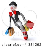 Clipart Of A 3d White And Black Clown Carrying Shopping Bags And Flying Royalty Free Illustration