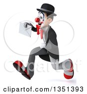 Clipart Of A 3d White And Black Clown Holding An Envelope And Sprinting To The Left Royalty Free Illustration
