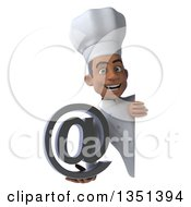 Clipart Of A 3d Young Black Male Chef Holding An Email Arobase At Symbol Around A Sign Royalty Free Illustration by Julos