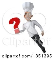 Clipart Of A 3d Young Black Male Chef Holding A Question Mark And Flying Royalty Free Illustration by Julos