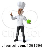 Clipart Of A 3d Young Black Male Chef Holding Up A Finger And A Green Apple Royalty Free Illustration by Julos