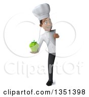 Clipart Of A 3d Full Length Young Black Male Chef Holding A Green Bell Pepper Around A Sign Royalty Free Illustration by Julos