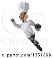 Clipart Of A 3d Young Black Male Chef Holding A Blackberry And Flying Royalty Free Illustration by Julos
