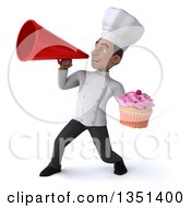 Clipart Of A 3d Young Black Male Chef Holding A Cupcake And Using A Megaphone Royalty Free Illustration