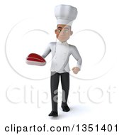 Clipart Of A 3d Young Black Male Chef Holding A Beef Steak And Walking Royalty Free Illustration by Julos