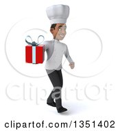 Clipart Of A 3d Young Black Male Chef Holding A Gift And Walking To The Right Royalty Free Illustration by Julos