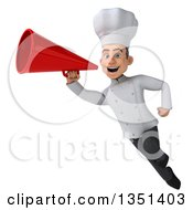 Clipart Of A 3d Young White Male Chef Using A Megaphone And Flying Royalty Free Illustration by Julos