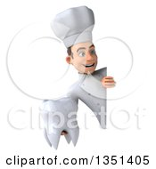 Clipart Of A 3d Young White Male Chef Holding A Tooth Around A Sign Royalty Free Illustration by Julos