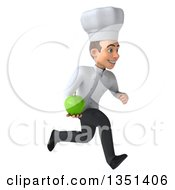 Clipart Of A 3d Young White Male Chef Holding A Green Apple And Sprinting To The Right Royalty Free Illustration by Julos