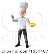 Clipart Of A 3d Young White Male Chef Holding Up A Finger And A Banana Royalty Free Illustration by Julos