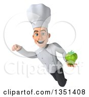 Clipart Of A 3d Young White Male Chef Holding A Green Bell Pepper And Flying Royalty Free Illustration by Julos