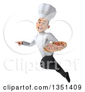 Clipart Of A 3d Young White Male Chef Holding A Pizza Flying And Pointing Royalty Free Illustration by Julos