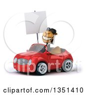 Clipart Of A 3d Arabian Business Camel Wearing Sunglasses Holding A Blank Sign And Driving A Red Convertible Car To The Left Royalty Free Illustration