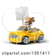Clipart Of A 3d Arabian Business Camel Holding A Blank Sign And Driving A Yellow Convertible Car To The Left Royalty Free Illustration by Julos
