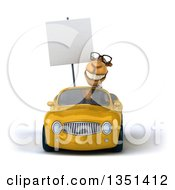 Clipart Of A 3d Bespectacled Business Camel Holding A Blank Sign And Driving A Yellow Convertible Car Royalty Free Illustration