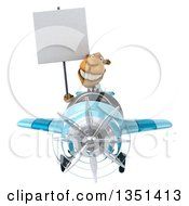 Clipart Of A 3d Business Camel Aviator Pilot Holding A Blank Sign And Flying A Blue Airplane Royalty Free Illustration by Julos