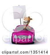 Clipart Of A 3d Camel Holding A Blank Sign And Driving A Purple Convertible Car Royalty Free Illustration