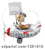 Clipart Of A 3d Arabian Camel Aviator Pilot Wearing Sunglasses Holding A Blank Sign And Flying A White And Red Airplane To The Left Royalty Free Illustration by Julos