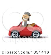 Clipart Of A 3d Arabian Business Camel Wearing Sunglasses And Driving A Red Convertible Car To The Left Royalty Free Illustration